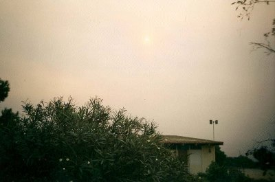 The sun is blocked from ash.