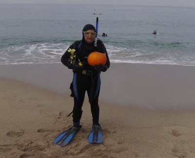 Me heading out to the water with my pumpkin.