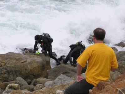 Divers make it to shore on the Point.