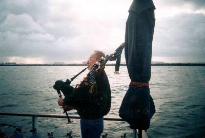 A bagpipe concert aboard the Bottom Scratcher!