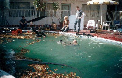 Filming the pool scenes.