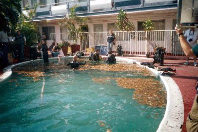 Filming the pool scene