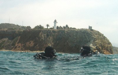 Divers off the Pt Vicente Lighthouse.