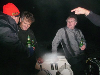 Beers are cracked for the Island Diver debriefing session.