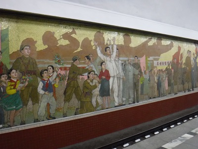 Another mural in in Pyongyang metro.