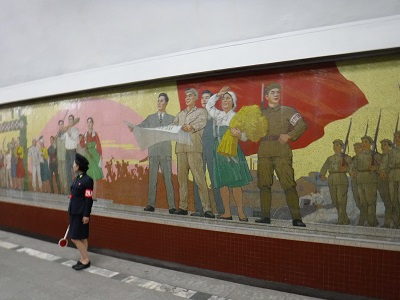 Mural in Pyongyang station.