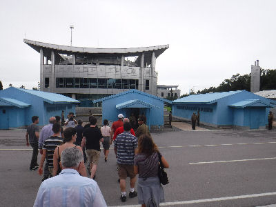 Going to the blue DMZ buildings.
