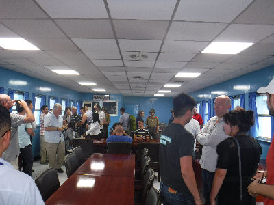 Inside the blue building at the DMZ.