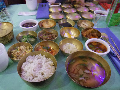 13 brass bowl meals with dog meat soup.
