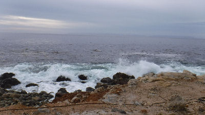 Big waves off of Terranea Resort.