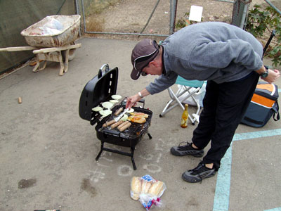 Reverend Al donated some more Bratwursts and onions to fill in some empty space on the grill.