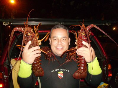 Jim with his lobsters.