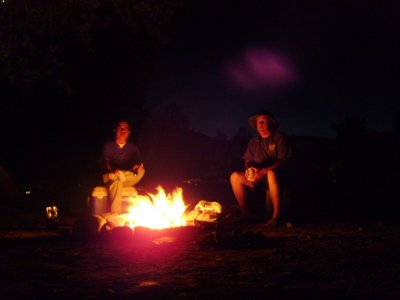 Edx and I sit at the campfire and listen to the radio </p> <p>wars.