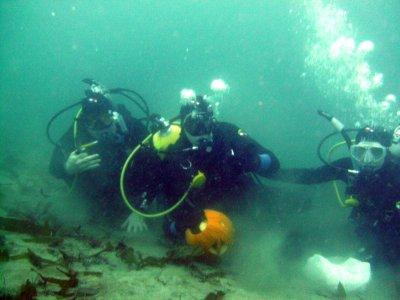 More underwater pumpkin carving.