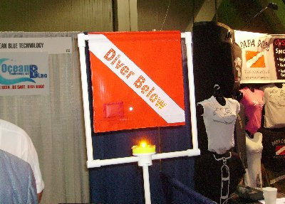 A new feature in dive safety - a LED lighted Diver Down flag.