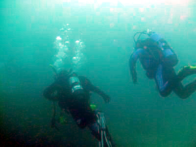 Divers descend upon the reef at 60 feet.
