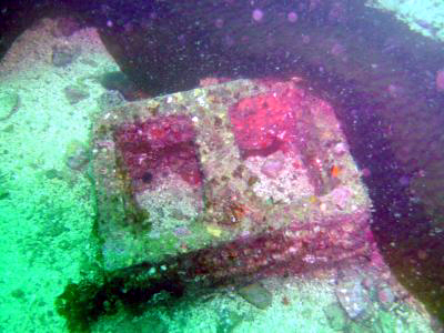 A cinder block at Casino Point.
