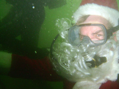 A close up of the underwater Santa Claus