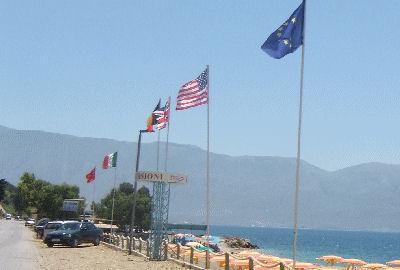 USA flag in Albania.