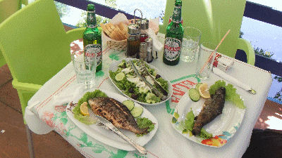 Fresh fish, salad, with olive oil as dressing, and bread, along with a big beer.