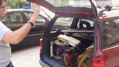 The compressor in trunk.
