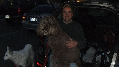 Dan with his lap dog, Chewy.