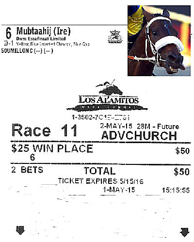 $25 Mubtaahij Win Place