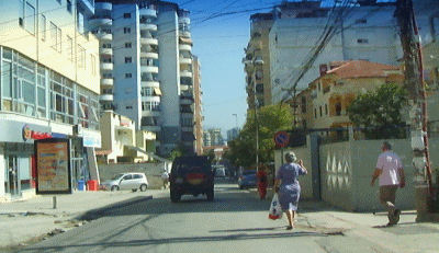 Driving in Tirana.