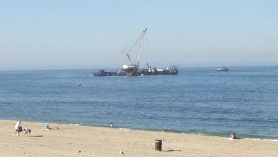 The Beach Renourishment barge off Redondo Beach