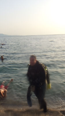 Emerging from a Saranda dive.