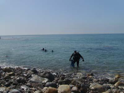 Exiting after a scuba dive.