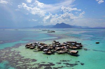 Bajau people in the coral sea