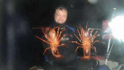 Instructor John with his lobsters