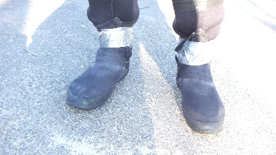 Lacking large booties that fit over my dry suit socks, I had to improvise.