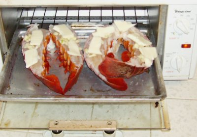 Lobster tails about to be cooked.
