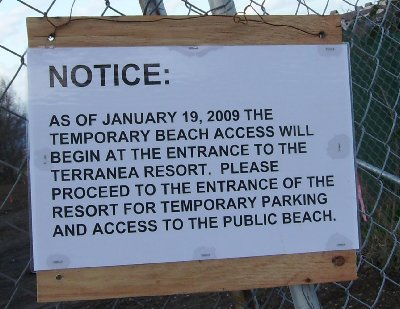 The public notice about beach access.