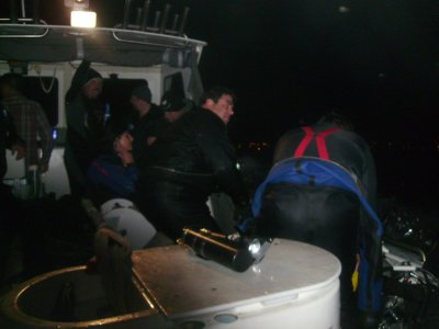 Divers on board the Island Diver.
