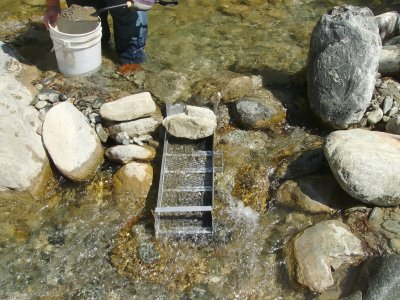 I'm now an expert at setting up my sluice, adjusting for water flow and angle.