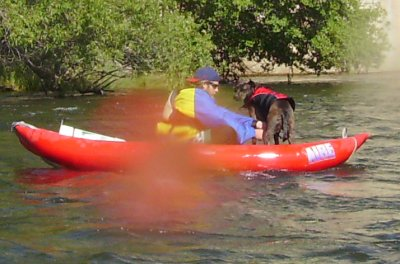 A kayaker and his dog.