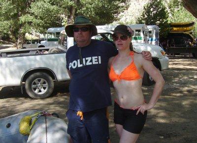 To make Ulli feel safe, I wore my German Police shirt.