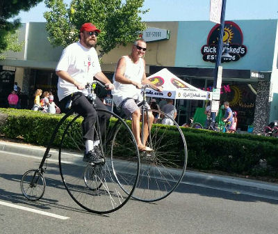 Me and the other penny farthing guy.