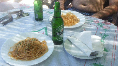 Beer and spaghetti.