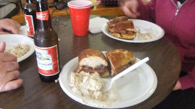 Pulled Pork, Potato salad and Budweiser