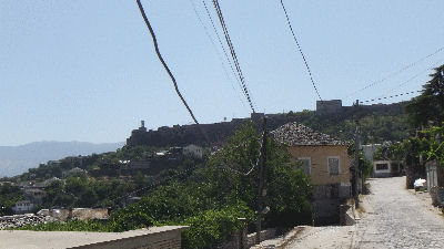 Gjirokaster Castle from a distance.